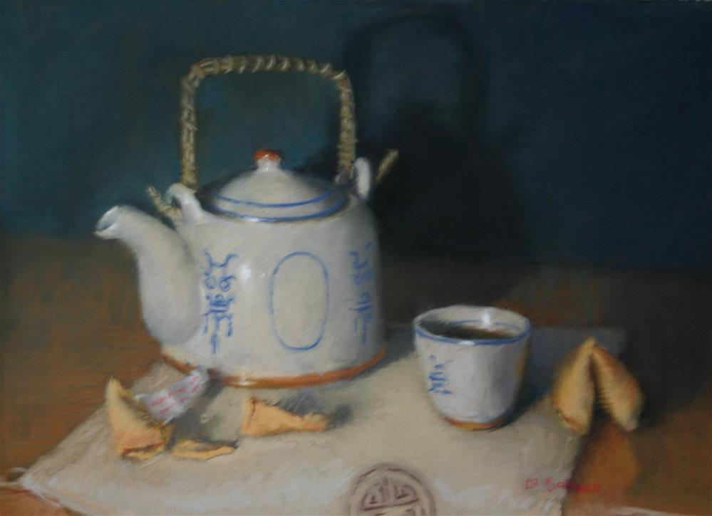 """Tea with fortune cookies"" original fine art by Liz Balkwill"