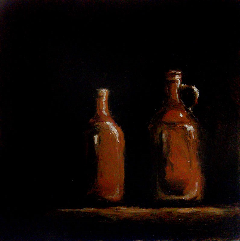 """Two Brown Jugs"" original fine art by Bob Kimball"