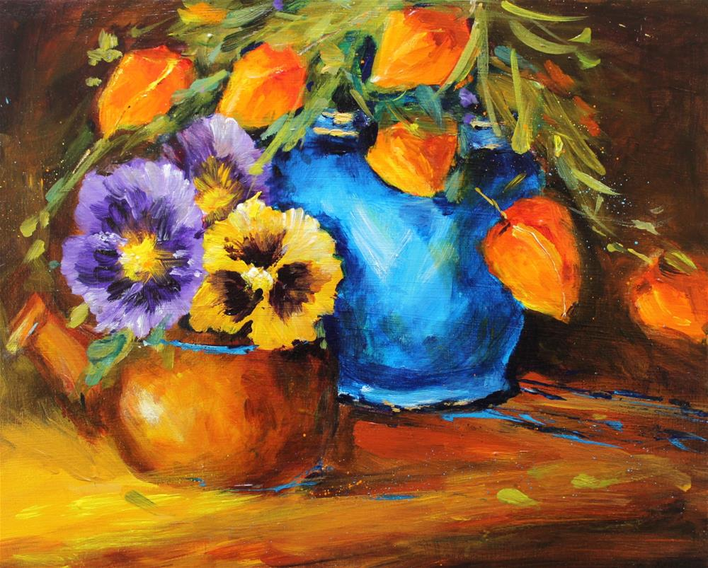 """Original pansy floral flower still life painting"" original fine art by Alice Harpel"