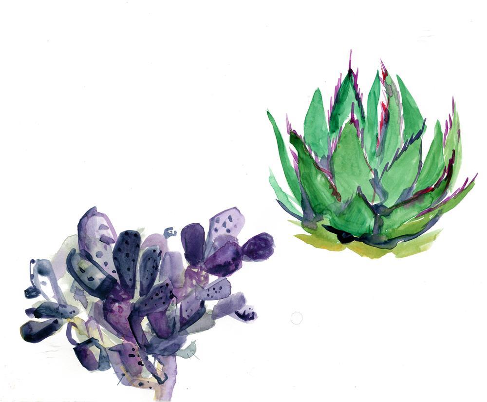 """Cactus and Succulent"" original fine art by Katy O'Connor"