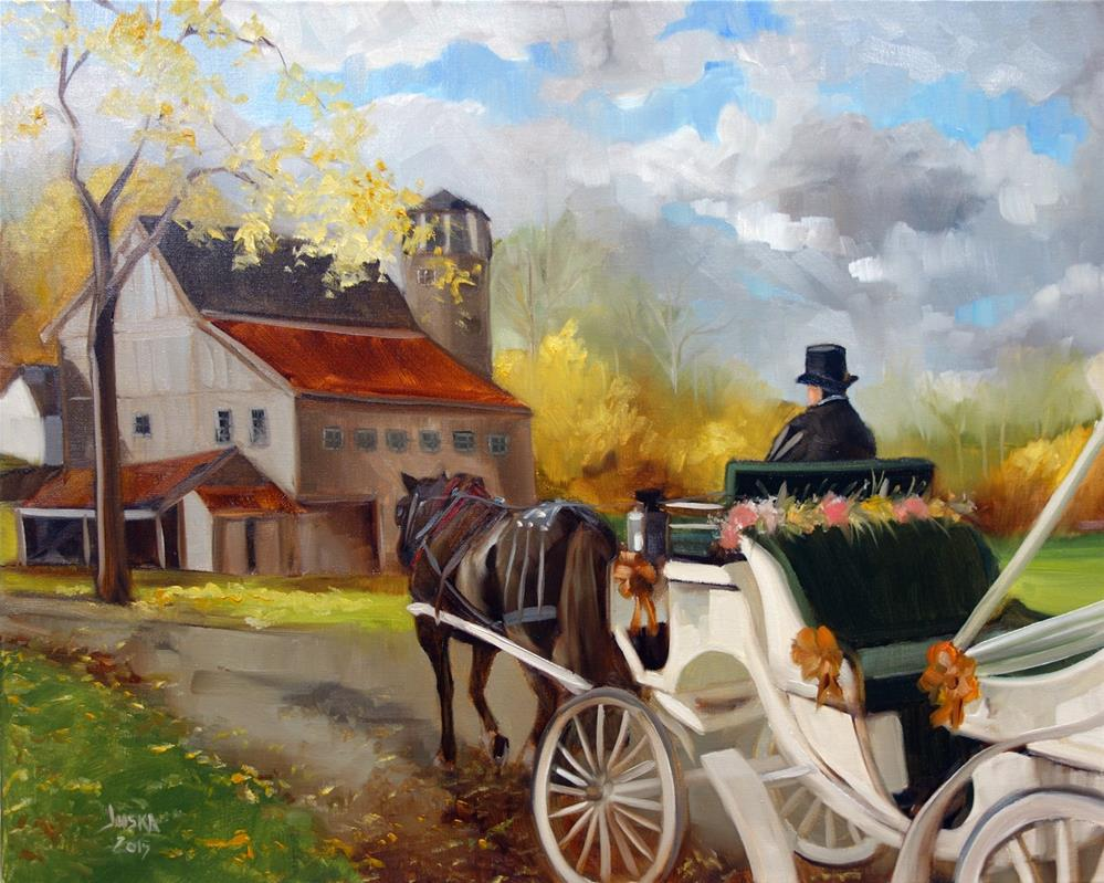 """Autumn Wedding Carriage"" original fine art by Elaine Juska Joseph"