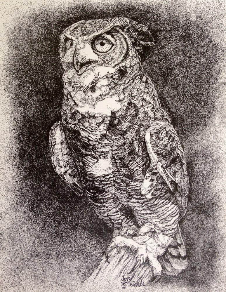 """Oh My Owl (stippling al dots) by Joye DeGoede"" original fine art by Joye DeGoede"
