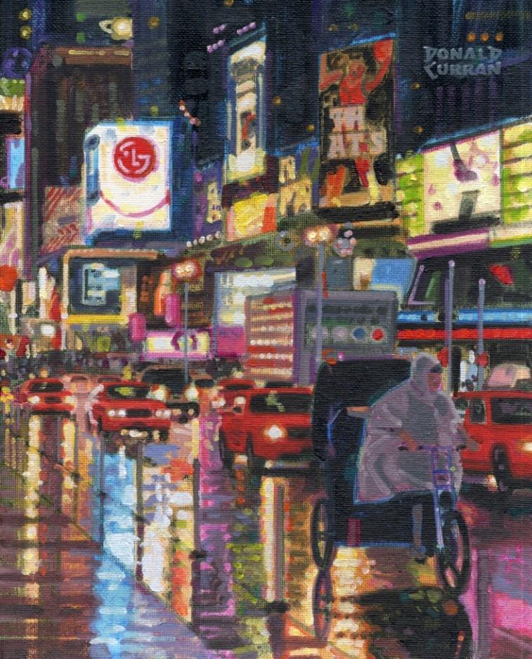 """New York City Night"" original fine art by Donald Curran"