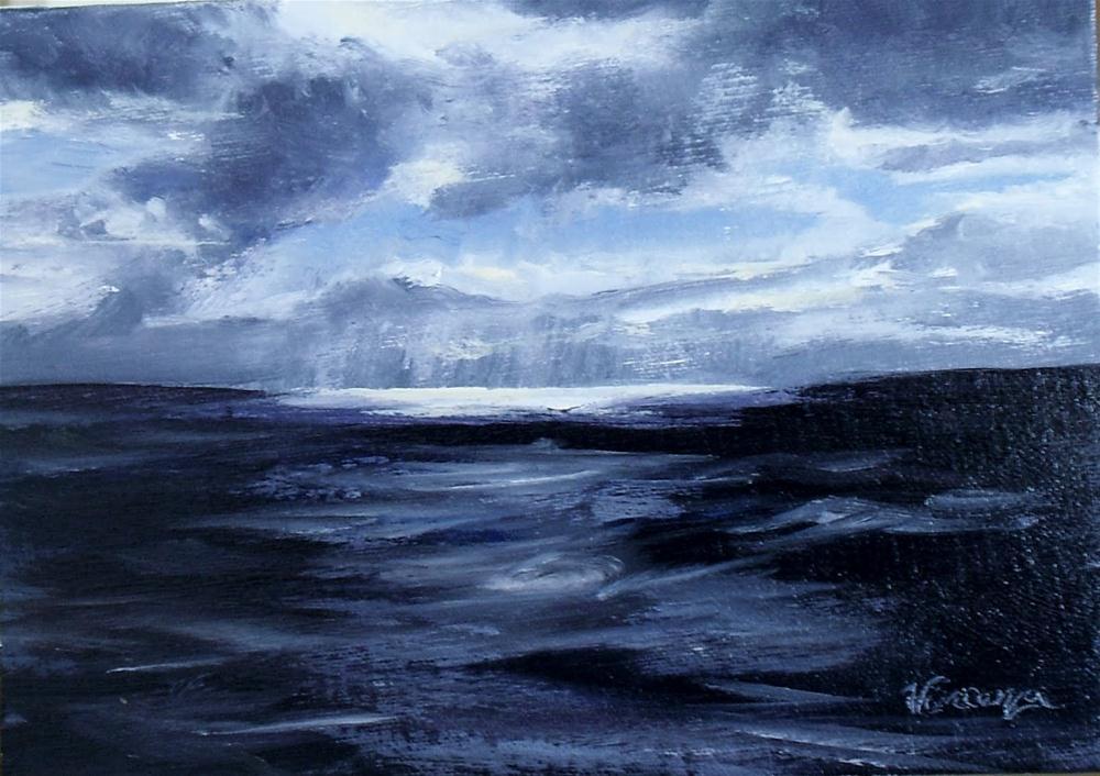 """Gulf High Seas~5x7~oil on linen"" original fine art by Vincenza Harrity"