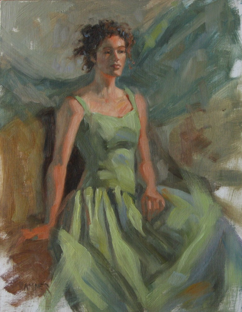"""Green taffeta dress  11x14  oil"" original fine art by Claudia Hammer"