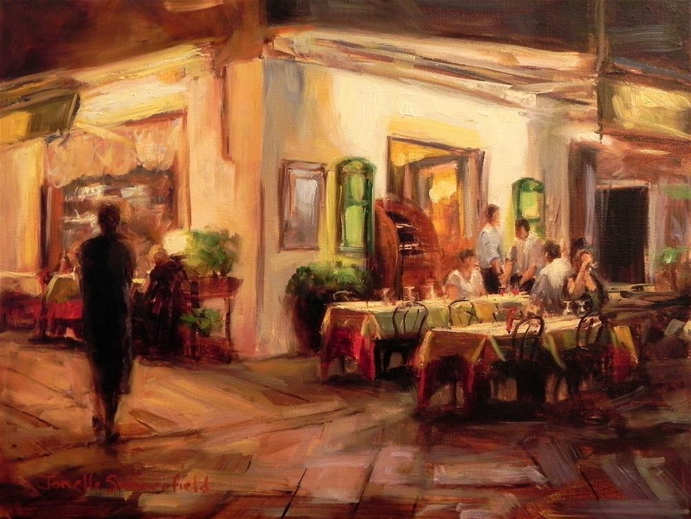 """Late Dinner at the Pizzeria II"" original fine art by Jonelle Summerfield"