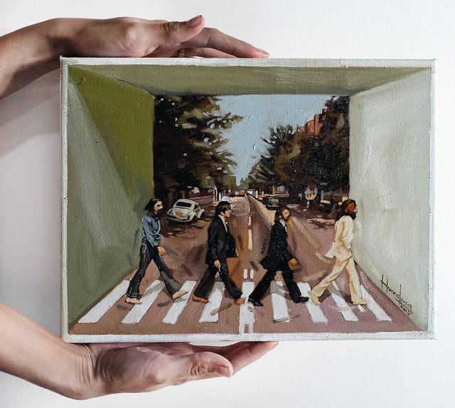 """Beatles Abbey Road illusion box"" original fine art by Haze Long"