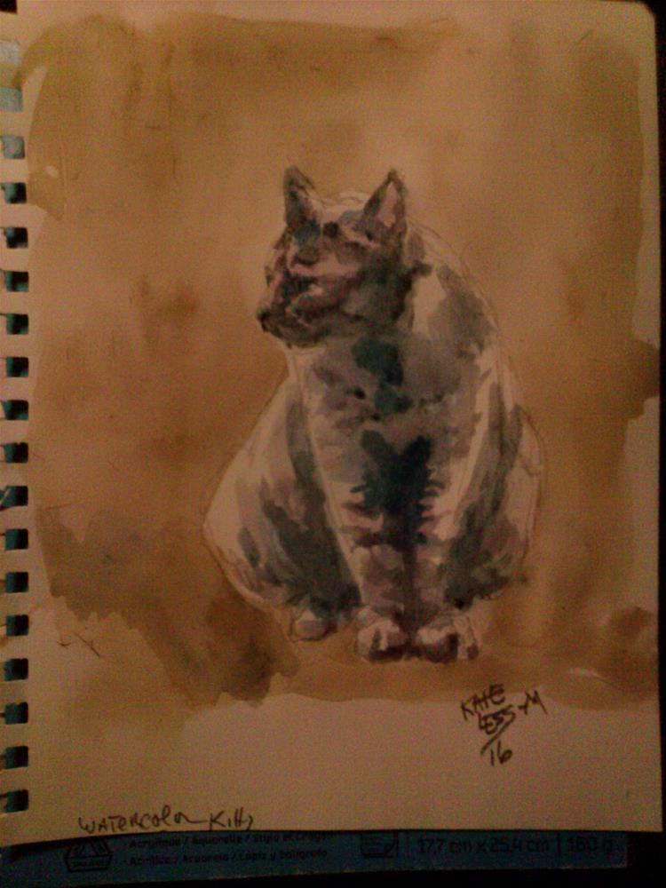 """Cat sketch : Watercolor"" original fine art by Kate Less-Madsen"