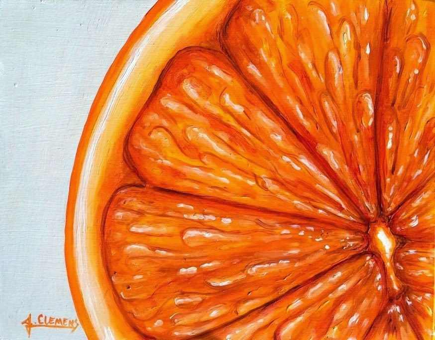 """Orange Slice"" original fine art by Jolynn Clemens"