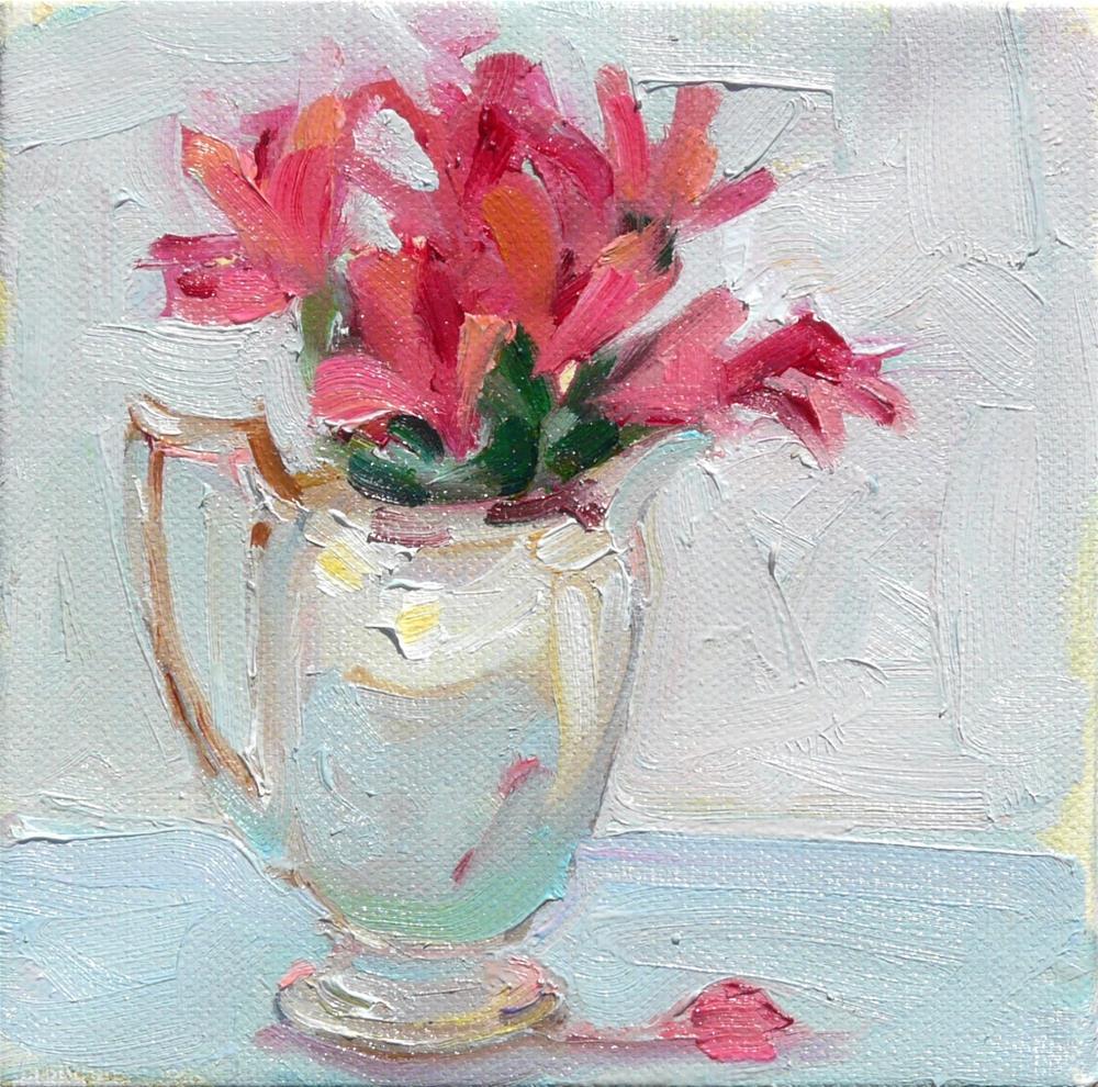 """""""Silver Pitcher,still life,oil on canvas,6x6,price$150"""" original fine art by Joy Olney"""
