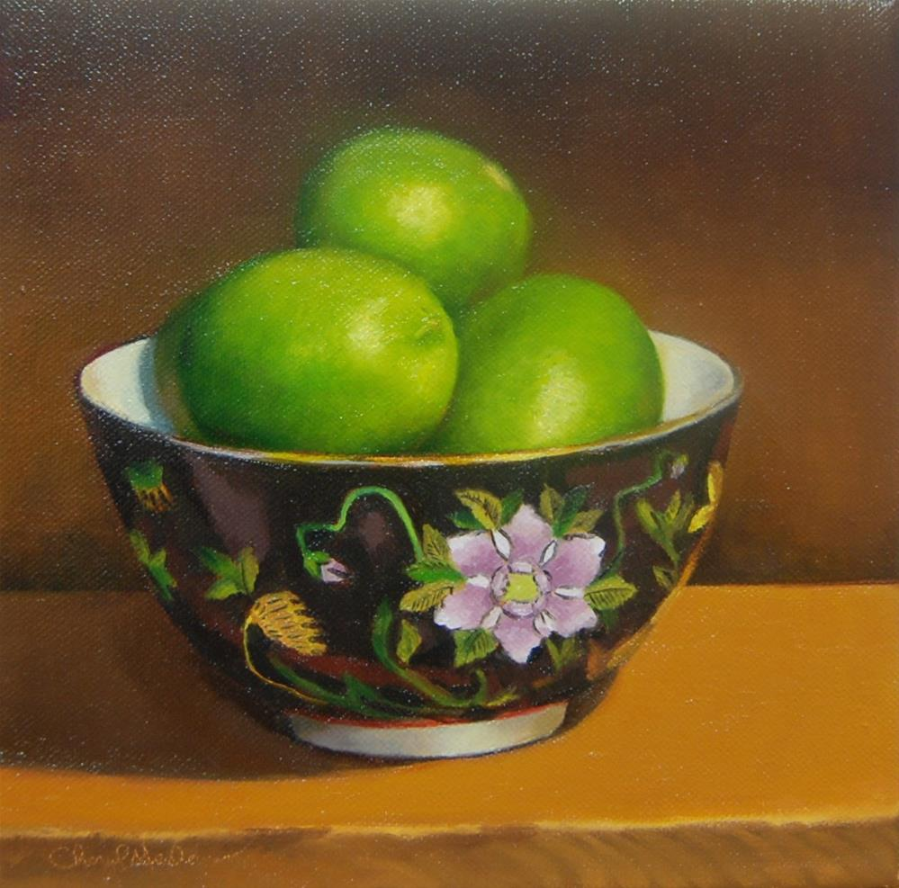 """Chinese Bowl with Limes"" original fine art by Cheryl Meehan"