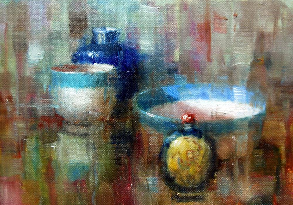 """""""Fractured Blues"""" original fine art by Julie Ford Oliver"""