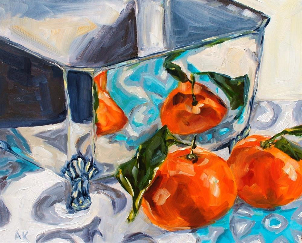 """""""Square Bowl and Clementines"""" original fine art by Alison Kolkebeck"""