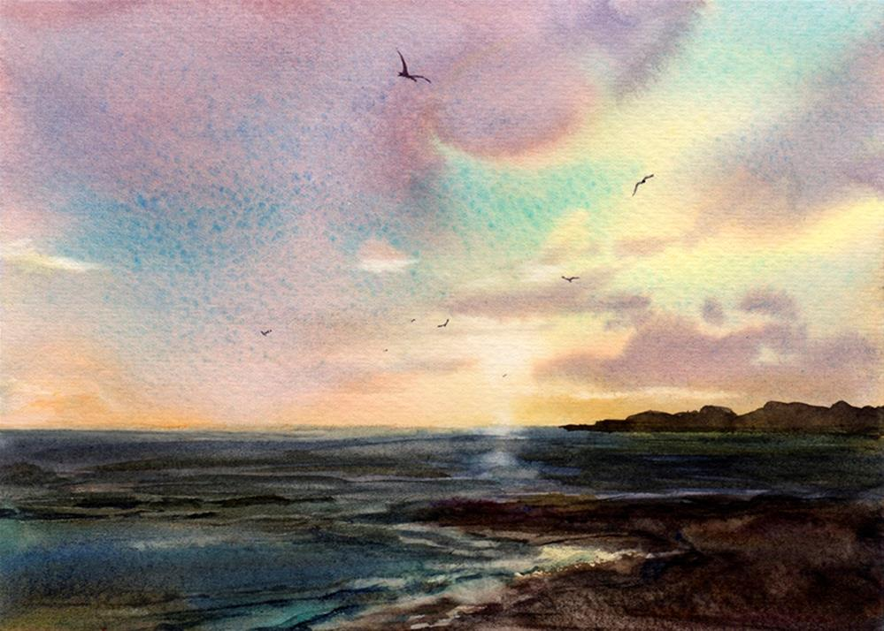 """Coastal Sunset"" original fine art by Linda Henry"