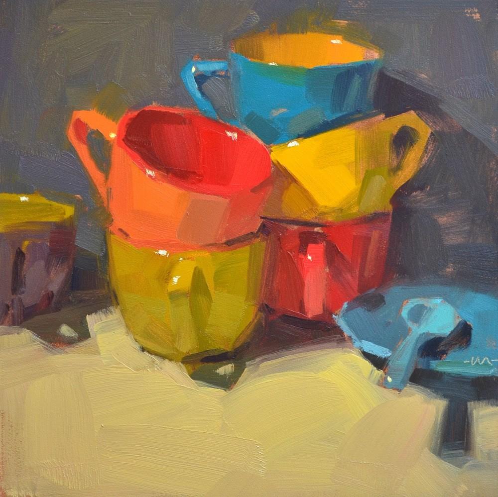 """Colorful Stacks"" original fine art by Carol Marine"