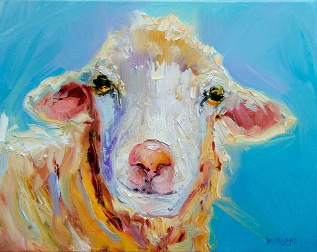 """ARTOUTWEST SHEEP LAMB OIL PAINTING BY DIANE WHITEHEAD FINE ART"" original fine art by Diane Whitehead"