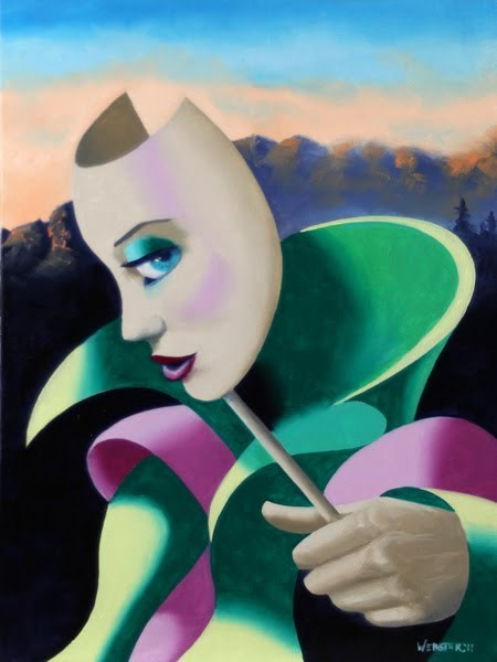 """Mark Webster - Looking for Strange - Abstract Surrealist Mask Oil Painting"" original fine art by Mark Webster"