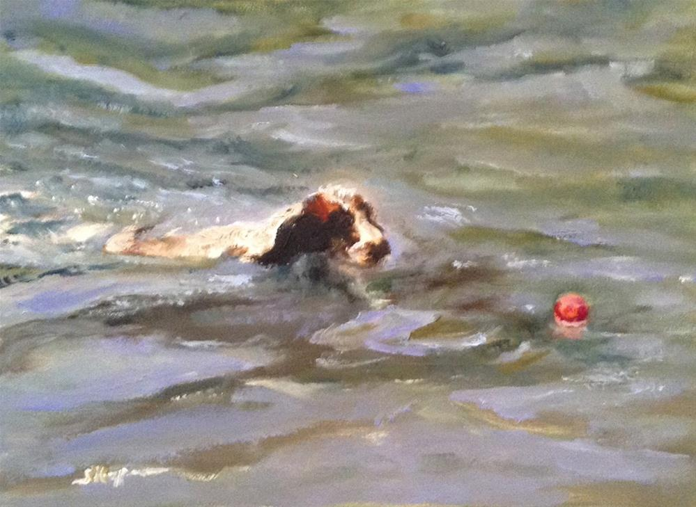 """Tallulah, the Water Dog"" original fine art by Shelley Koopmann"