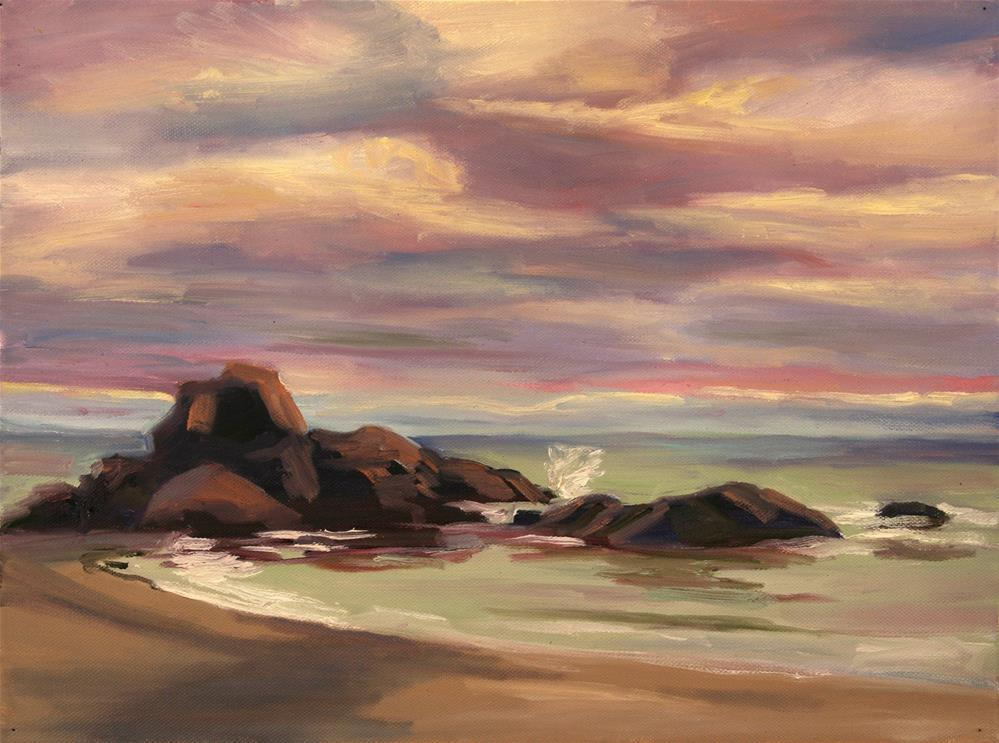 """ONA BEACH SUNSET"" original fine art by Karen E Lewis"