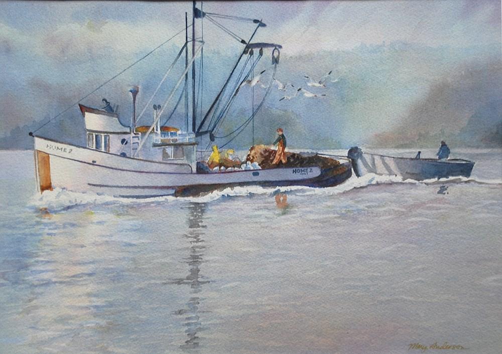 """""""Puget Sound Purse Seiner"""" original fine art by Mary Anderson"""