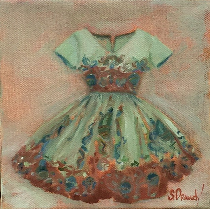 """Hot Air Balloon Dress"" original fine art by Stephanie Drawdy"