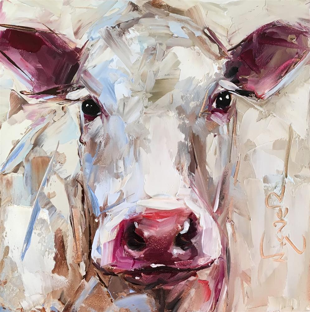 """ORIGINAL CONTEMPORARY WHITE COW PAINTING in OILS by OLGA WAGNER - 12 DAYS OF GREY"" original fine art by Olga Wagner"