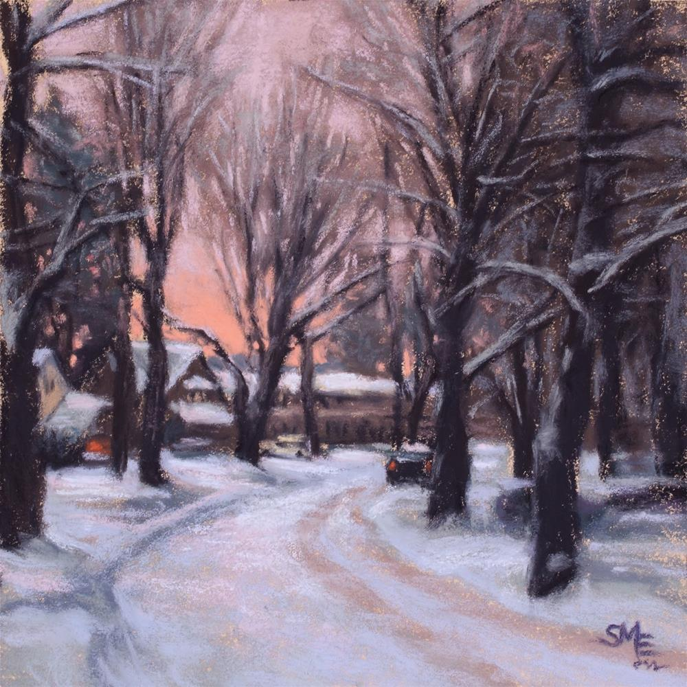 """20th Ave, Winter"" original fine art by Sheila Evans"