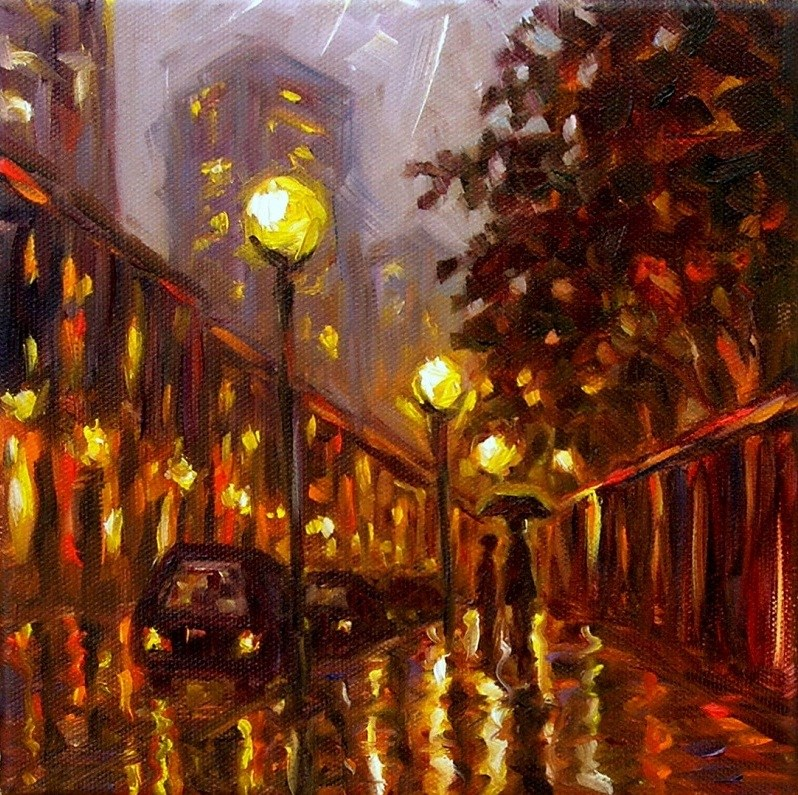 """Rainy Evening"" original fine art by Irina Beskina"