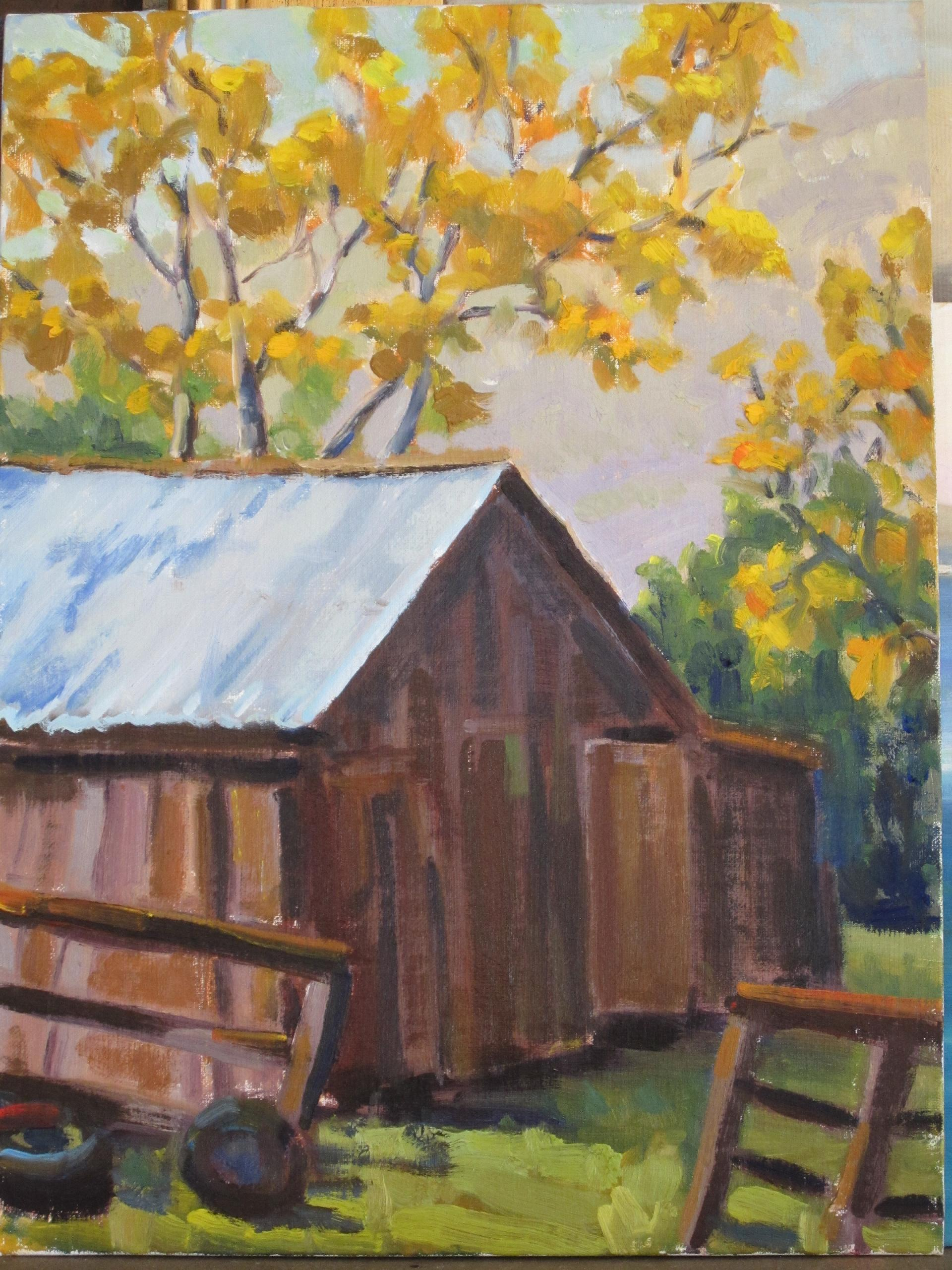 """Arroyo Barn"" original fine art by Leigh Alexandra Sparks"