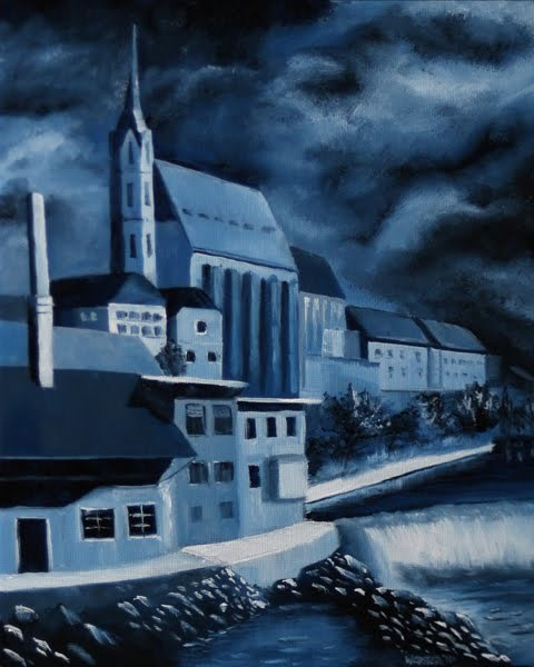 """Mark Webster - Church of St. Vitus - Cesky Krumlov, Czech Republic - Midnight Oil Series"" original fine art by Mark Webster"