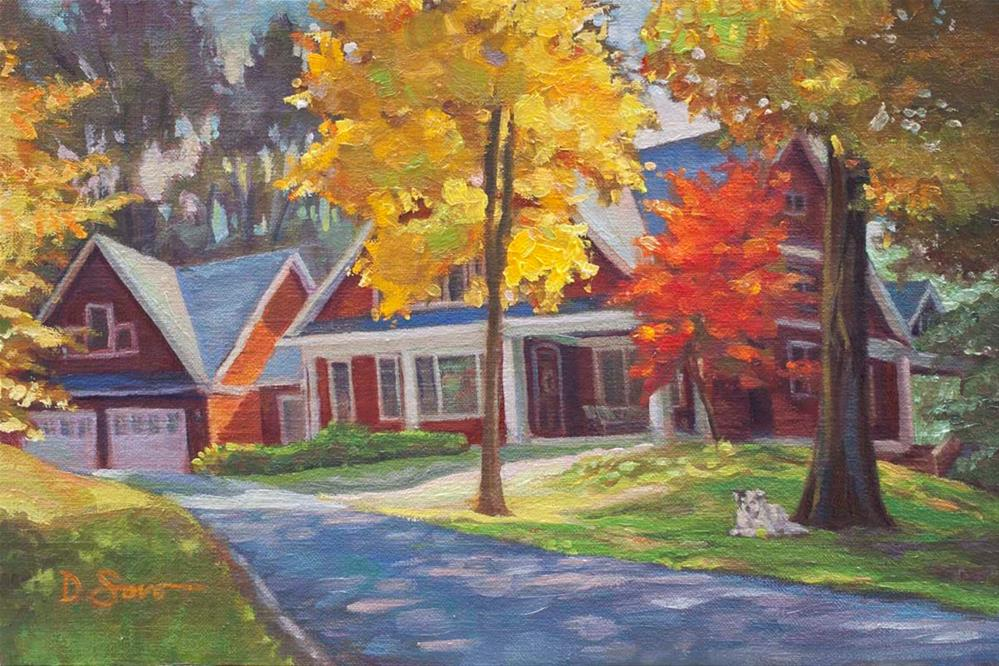 """House in Autumn"" original fine art by Deborah Savo"