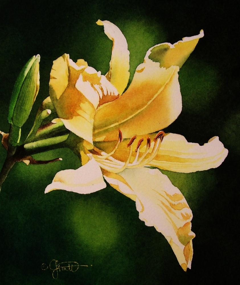 """Yellow Day Lily"" original fine art by Jacqueline Gnott, TWSA, WHS"