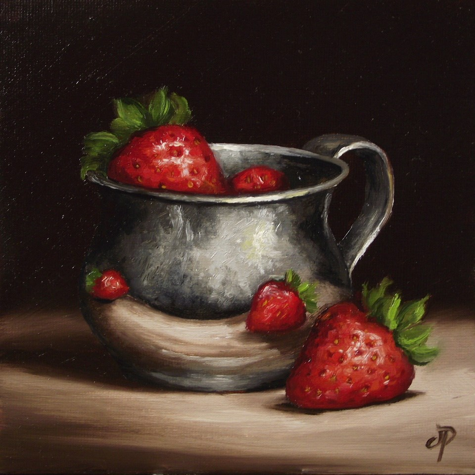 """Silver and Strawberries"" original fine art by Jane Palmer"