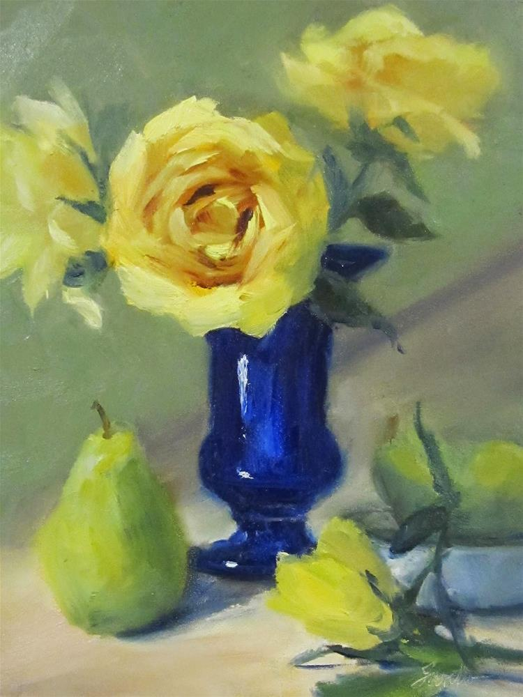 """Roses & Pears"" original fine art by Pat Fiorello"