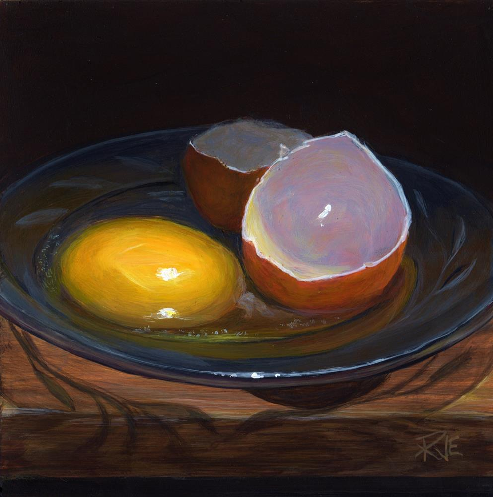 """Raw egg on a glass plate"" original fine art by Ruth Van Egmond"