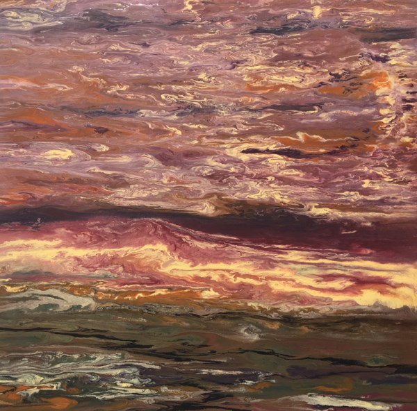 """Abstract Landscape,Sunset Art Painting Sky in Motion II by Colorado Contemporary Artist Kimberly C"" original fine art by Kimberly Conrad"