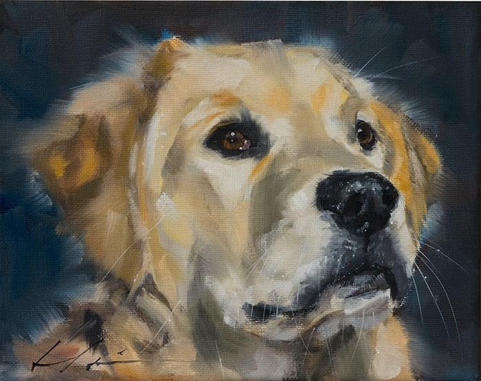 """""""PAINT MY DOG - Bear"""" original fine art by Clair Hartmann"""