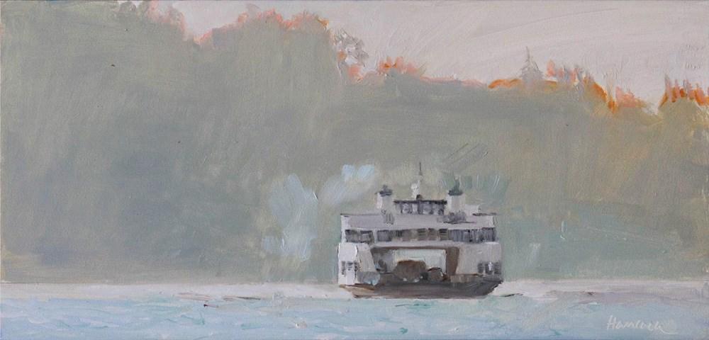 """Pale Ferry, Hazy Sun"" original fine art by Gretchen Hancock"
