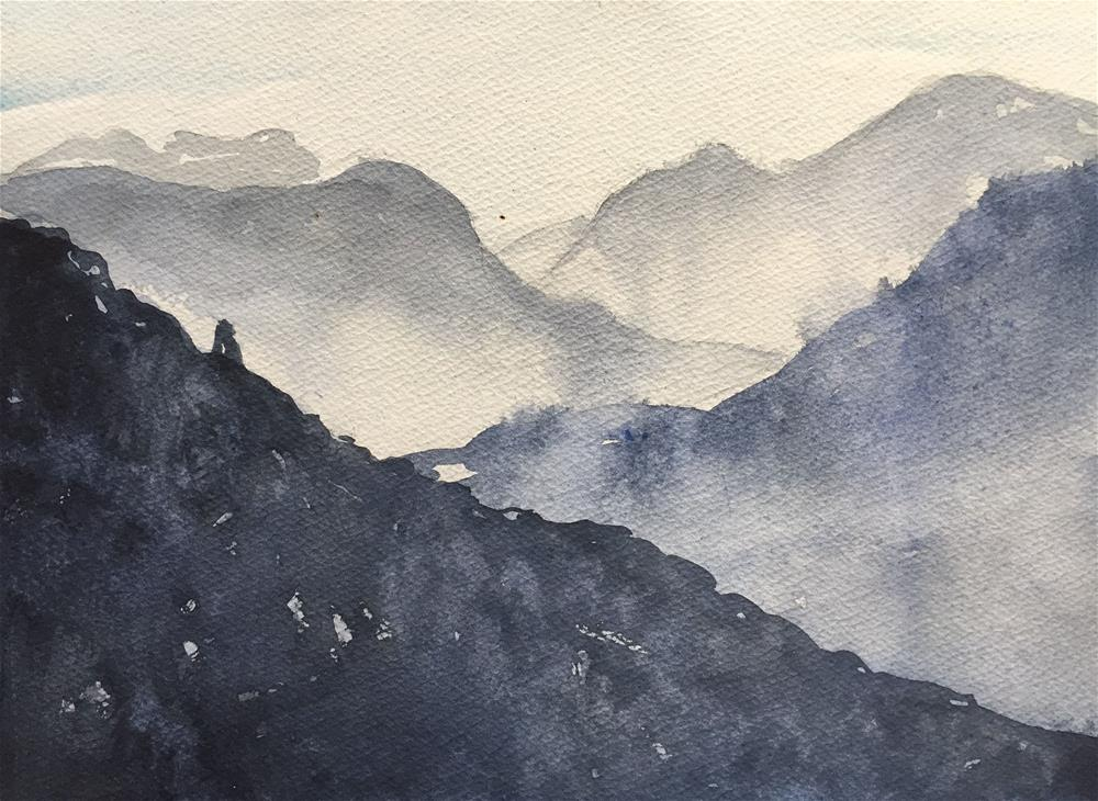 """FOG IN THE MOUNTAINS AT DAWN"" original fine art by Ferran Llagostera"