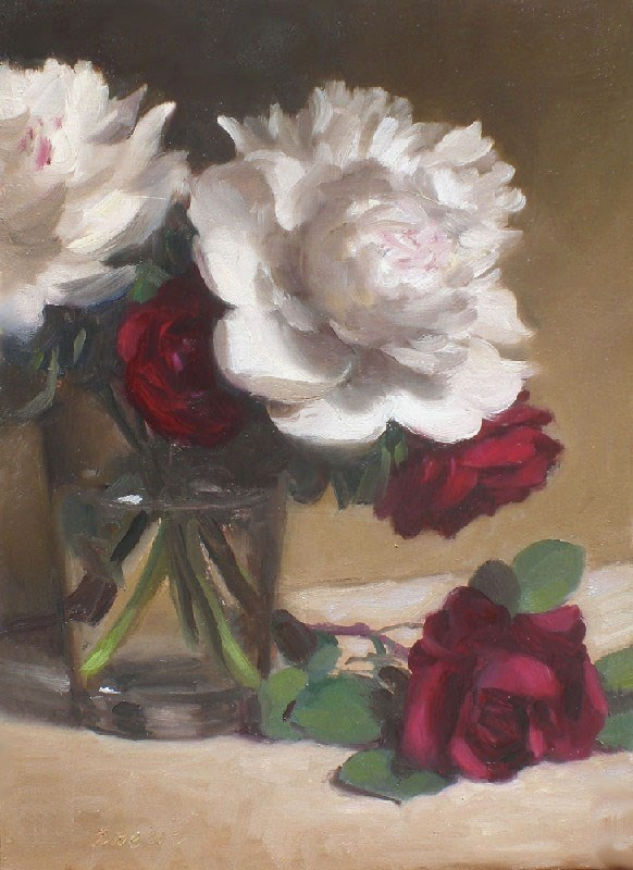 """Peonies and Roses"" original fine art by Debra Becks Cooper"