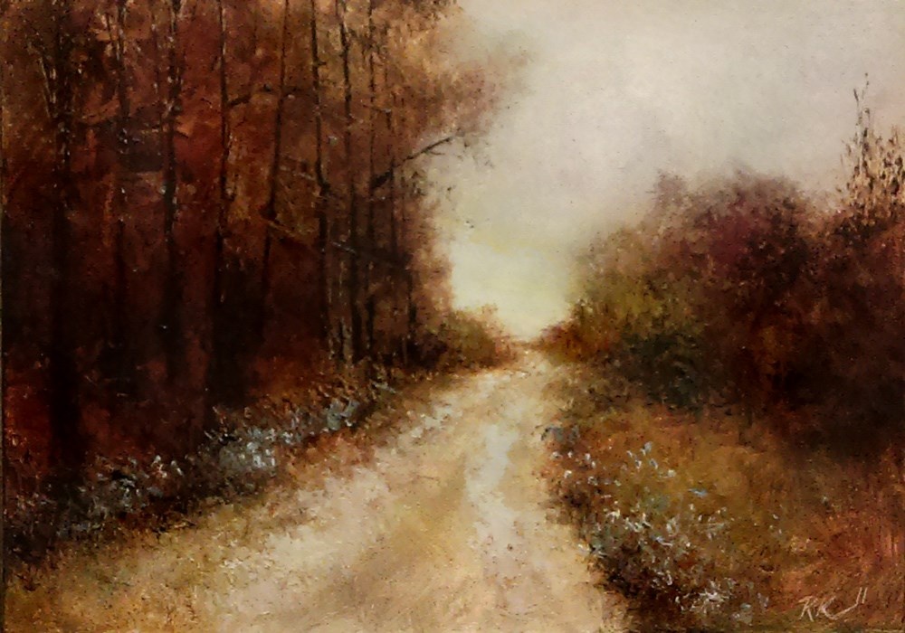 """Country Road on a misty day."" original fine art by Bob Kimball"