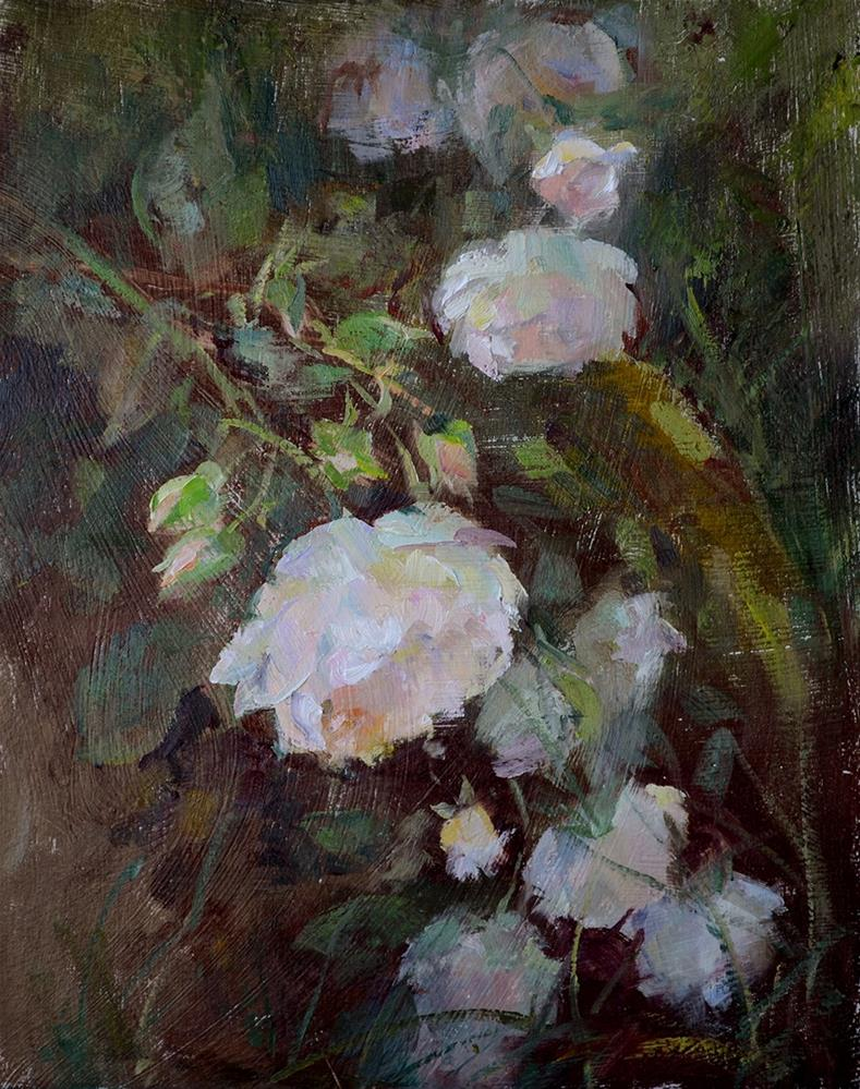 """White Roses"" original fine art by Denise Maxwell"