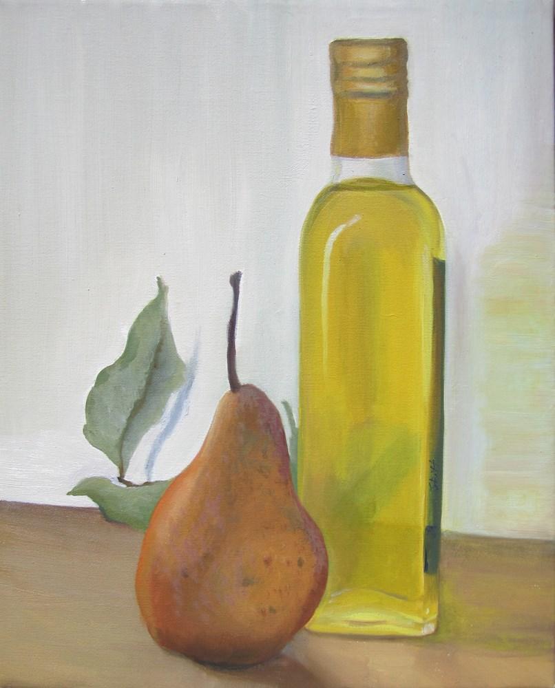 """Olive oil and a pear"" original fine art by Karen Stitt"