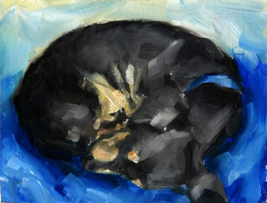 """Sleeping Dachshund and other happenings"" original fine art by Clair Hartmann"