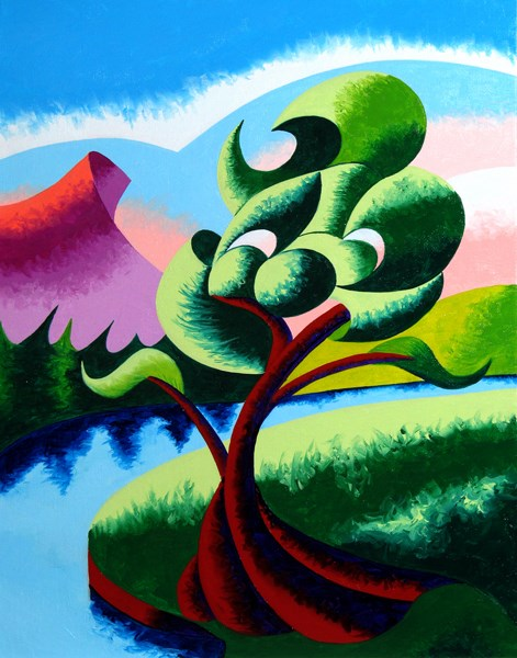 """Mark Webster - Abstract Geometric Landscape Oil Painting 2012-04-05"" original fine art by Mark Webster"