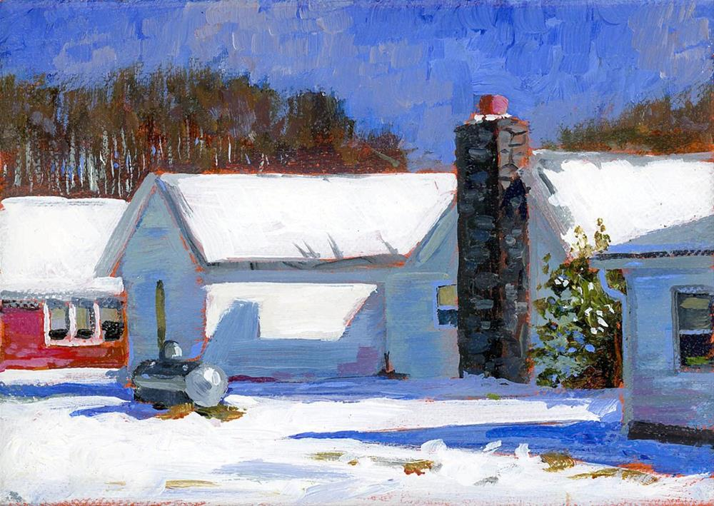 """""""Snowy Houses in Normandy TN"""" original fine art by Chris Ousley"""