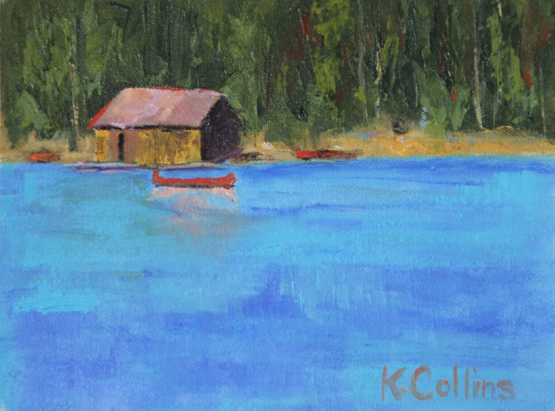 """""""Red Canoe"""" original fine art by Kathy Collins"""