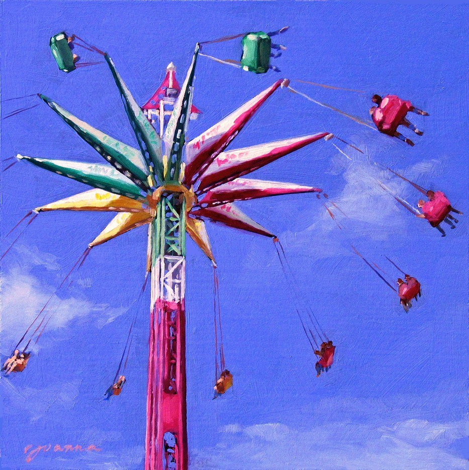 """Sky Flyers -- Painting of Fun Fair Rides"" original fine art by Joanna Bingham"
