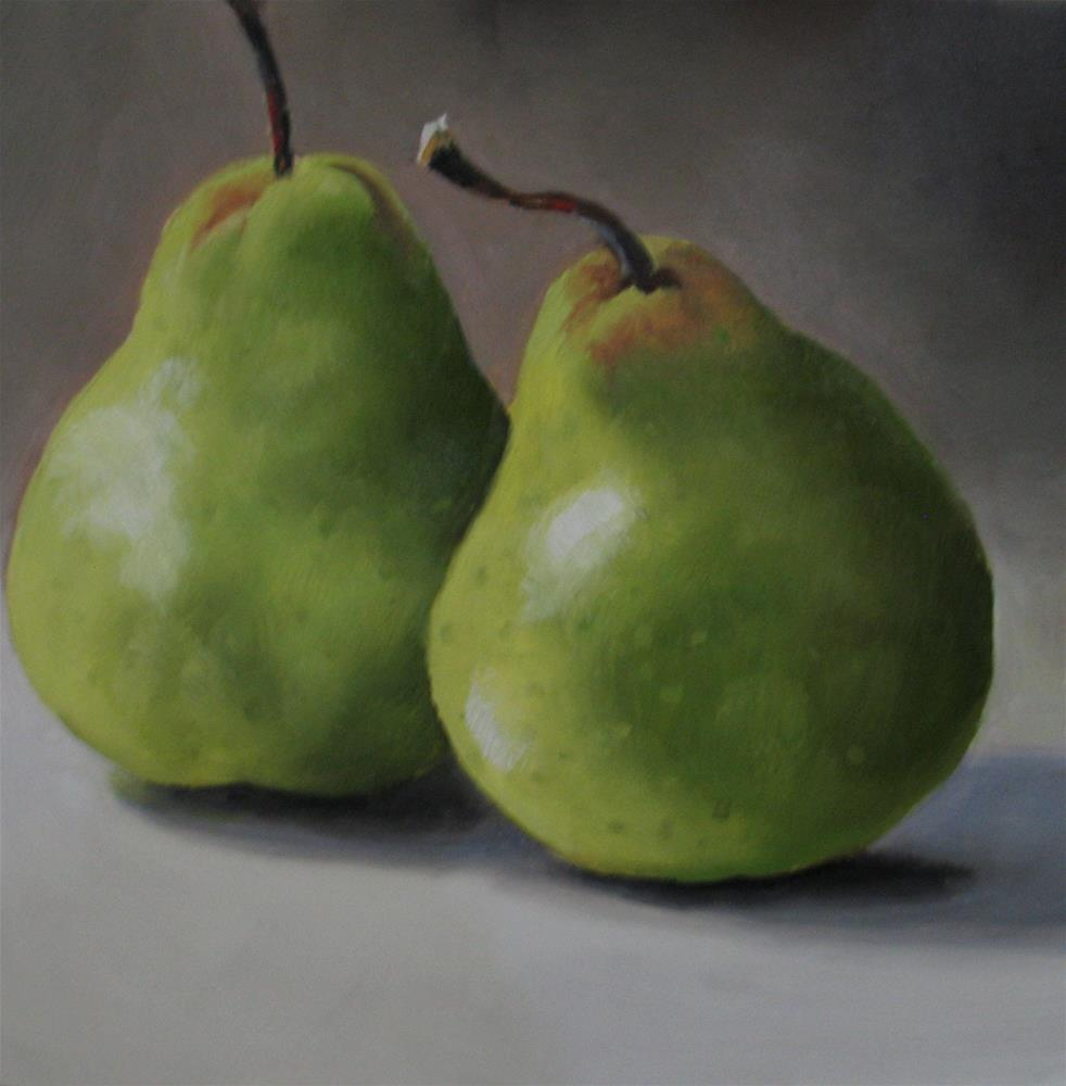 """Two Pears Square"" original fine art by Nel Jansen"