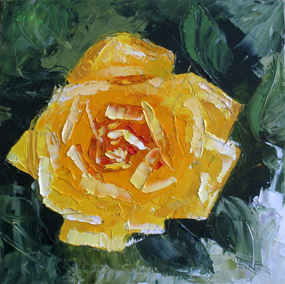 """My yellow Rose"" original fine art by Kulli Maslova"